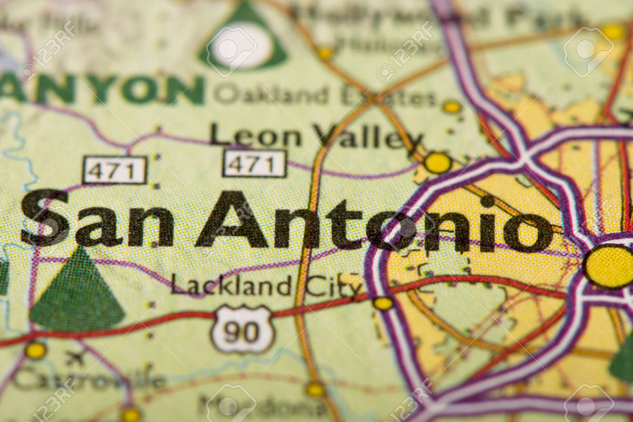 Closeup Of San Antonio Texas On A Political Map Of The United - San-antonio-us-map