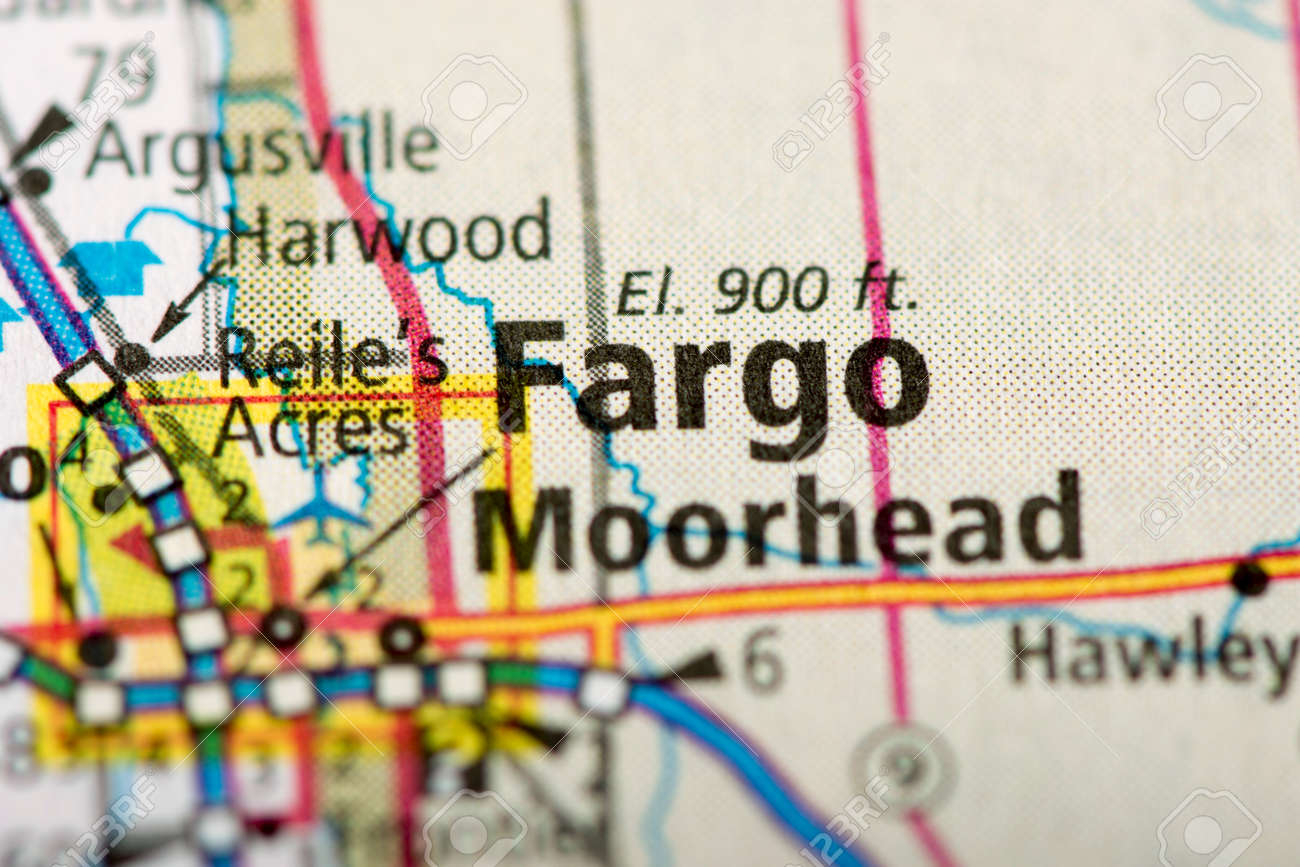Closeup of Fargo, North Dakota on a political map of the United..
