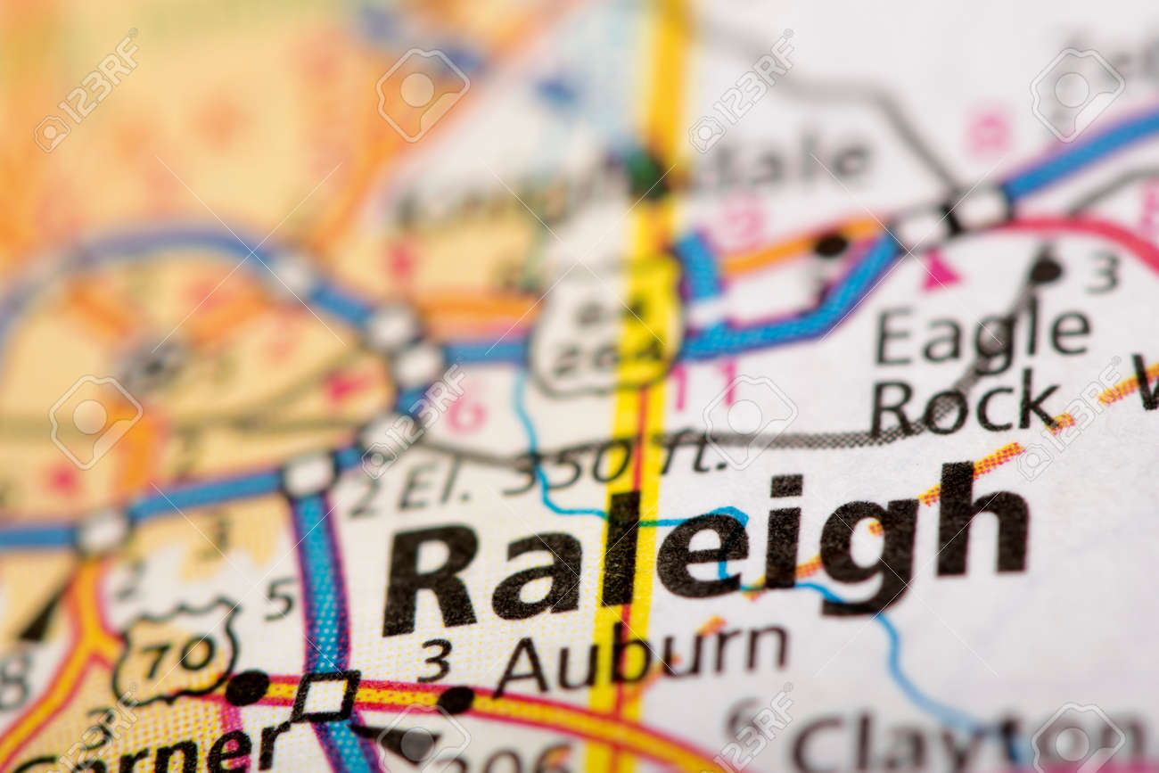 Closeup Of Raleigh North Carolina On A Road Map Of The United - Raleigh-nc-on-us-map