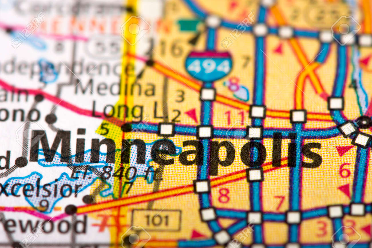 Closeup of Minneapolis, Minnesota on a road map of the United..