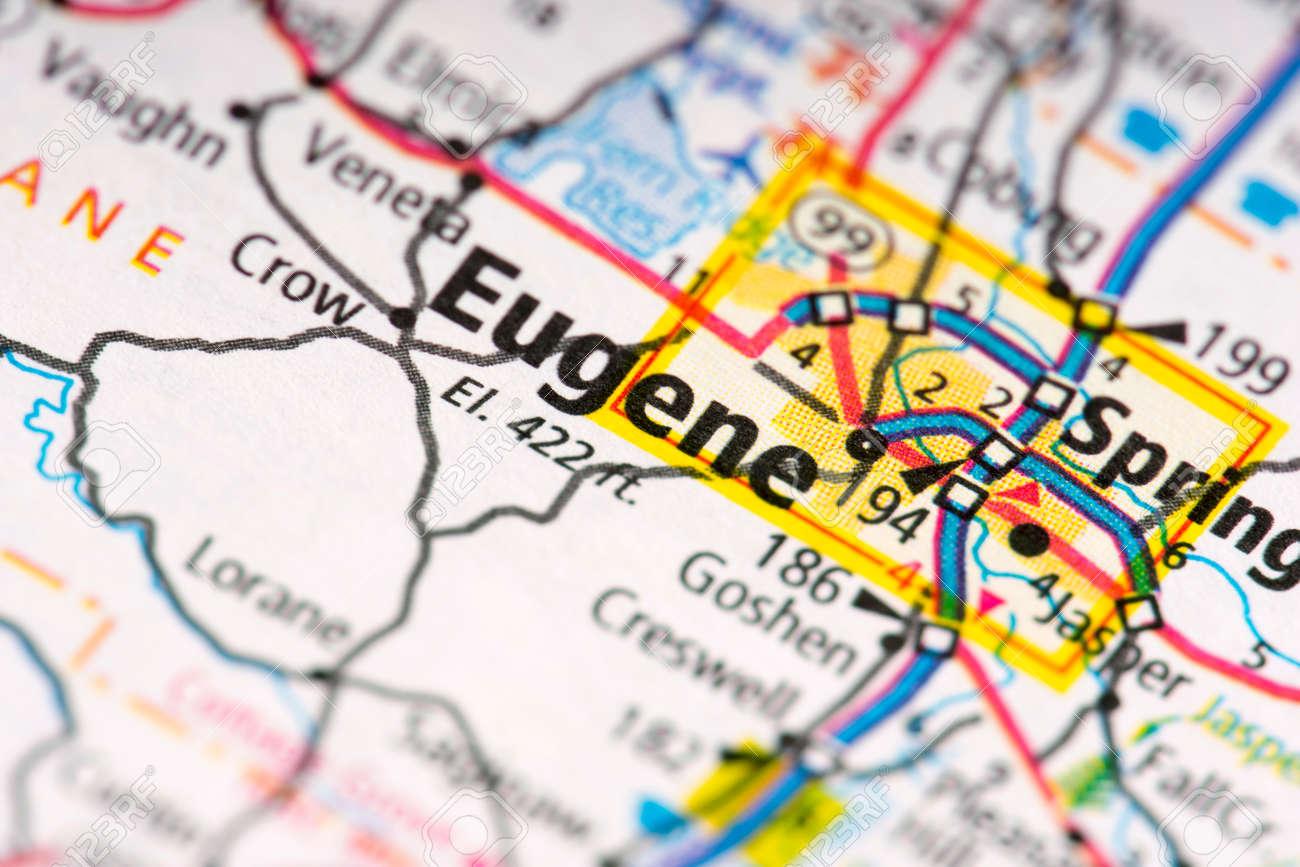 Closeup of Eugene, Oregon on a map. on phoenix arizona map, dalles oregon map, oregon coast map, corvallis oregon map, washington map, university of oregon map, grants pass oregon map, astoria oregon map, cottage grove oregon map, beaverton oregon map, salem oregon map, oregon state map, scio oregon map, medford oregon map, central oregon map, florence oregon map, coos bay oregon map, blue river oregon map, albany oregon map, lane county oregon map,