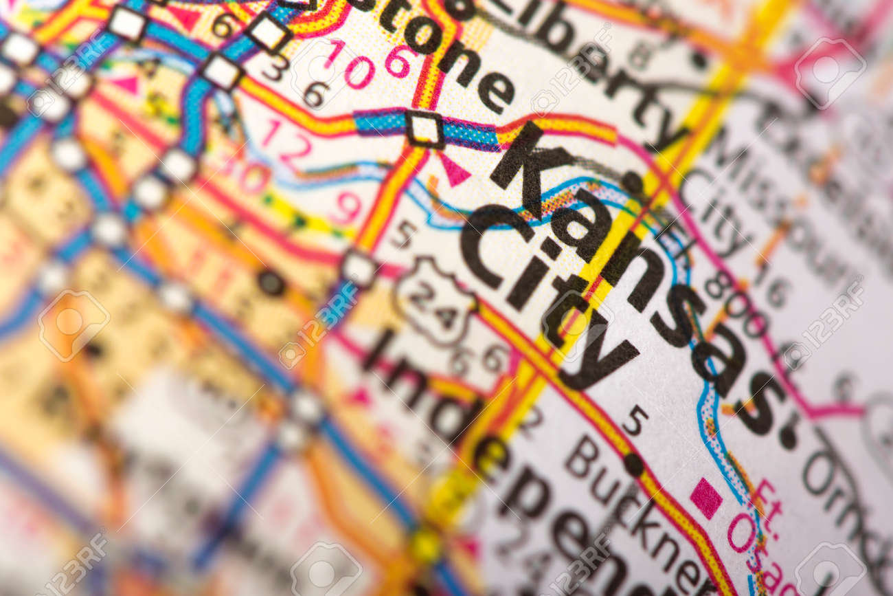 closeup of kansas city missouri on a road map of the united states stock