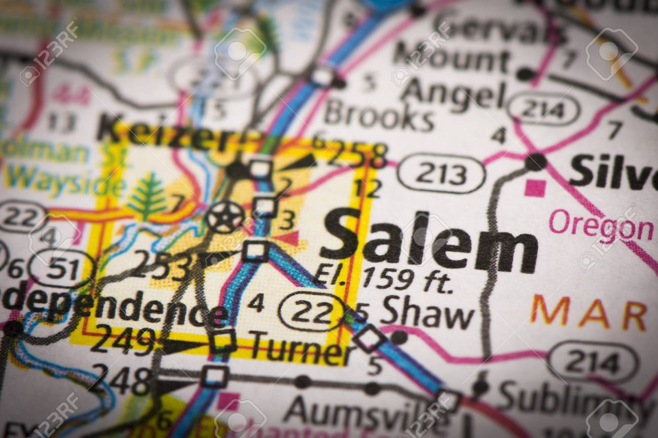 Closeup Of Salem Oregon On A Road Map Of The United States Stock