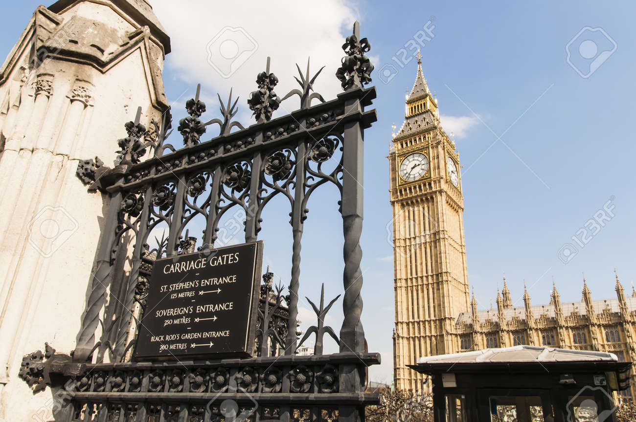 Detail shot of notice board at the gates of Houses of Parliament in London, with Big Ben in the background. Stock Photo - 13095563