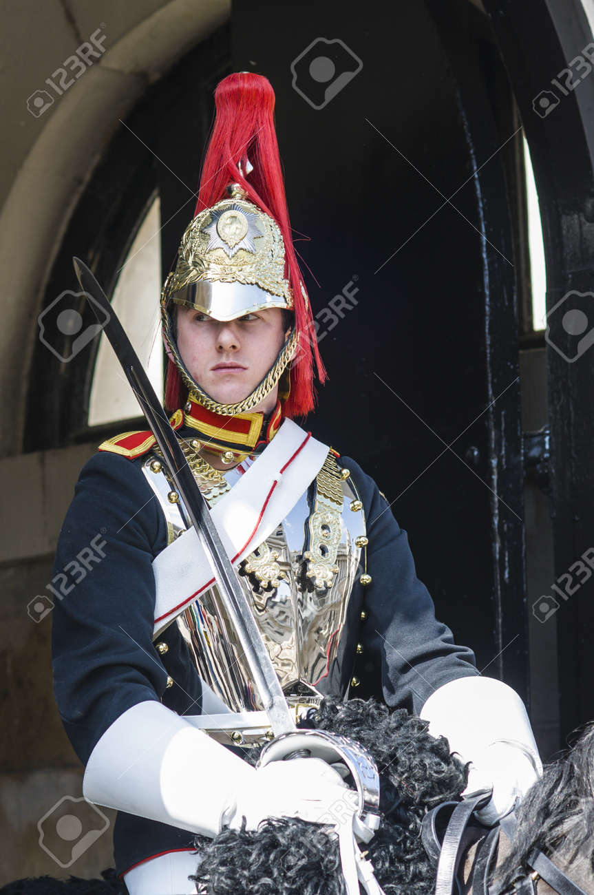 LONDON, UK - APRIL 02: Portrait of mounted Royal Horse Guard in typical outfit. April 02, 2012 in London. Stock Photo - 13062859
