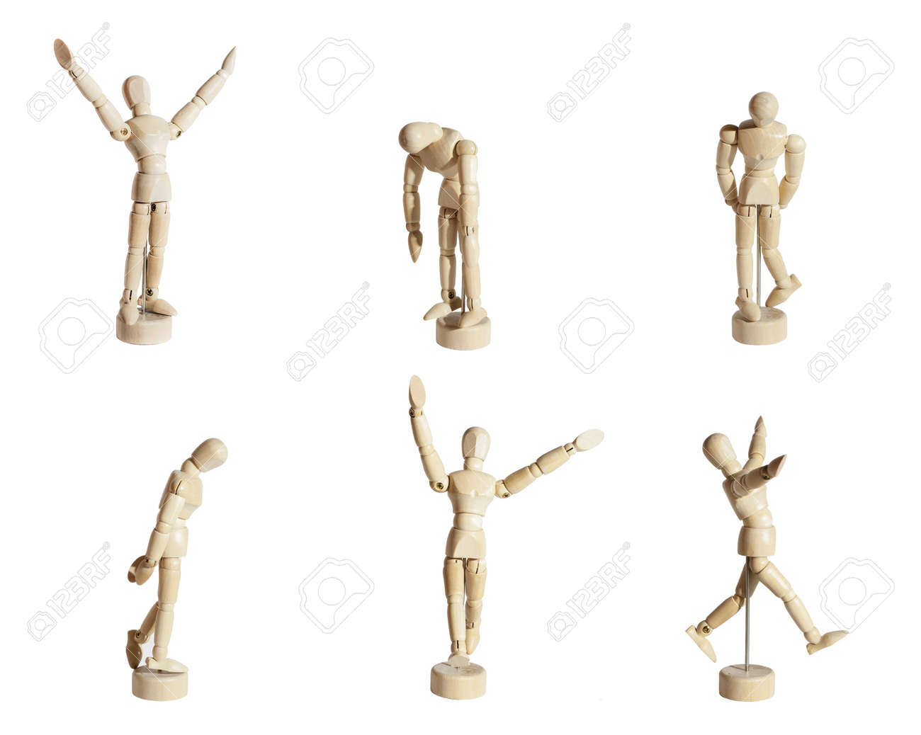 Six wood mannequins showing diverse emotions against white background. Stock Photo - 13627930