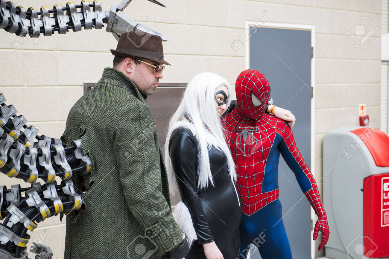 London Uk May 26 Spiderman And Doctor Octopus Cosplayers Stock