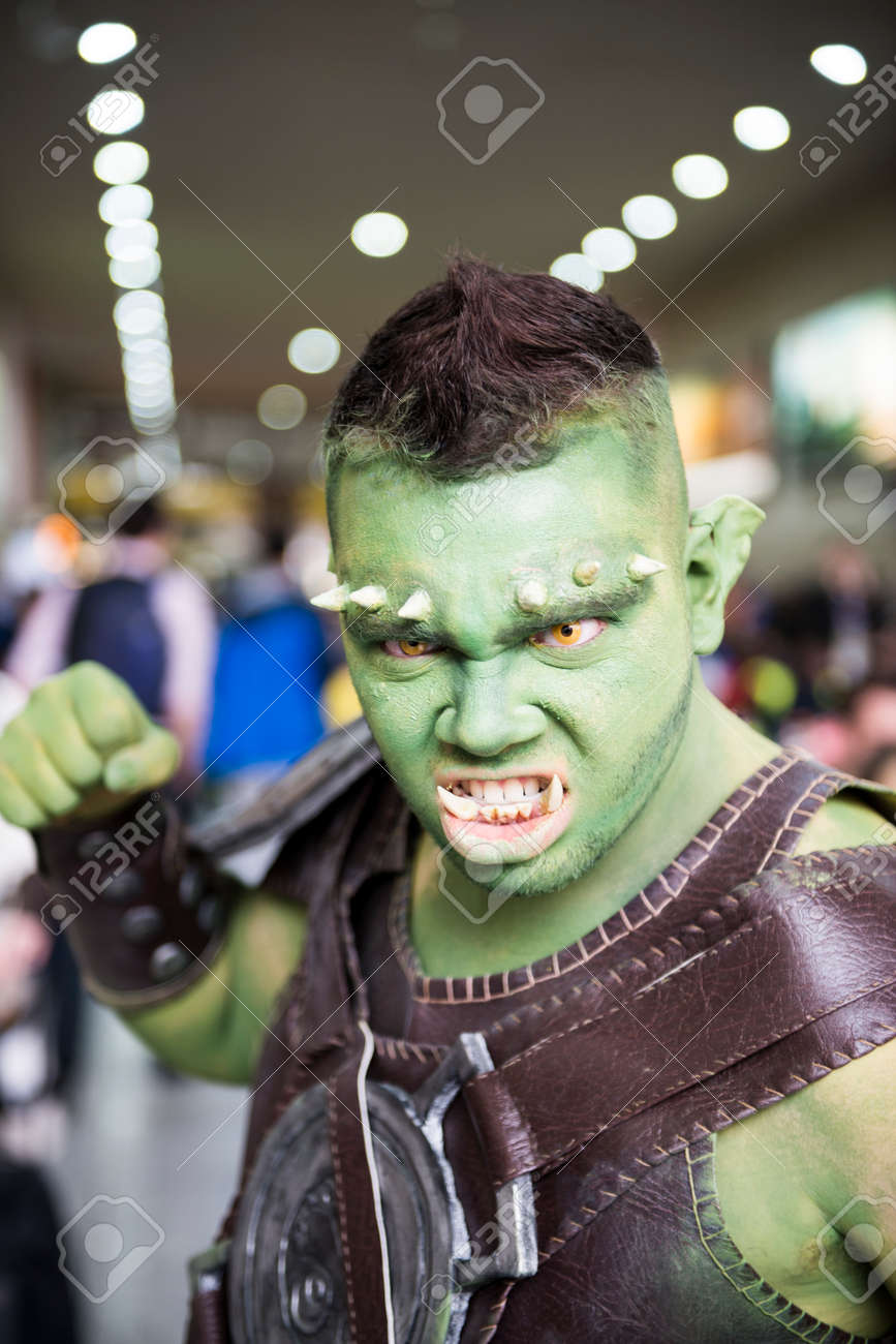 LONDON, UK - OCTOBER 26: Cosplayers dressed as an Orc from game