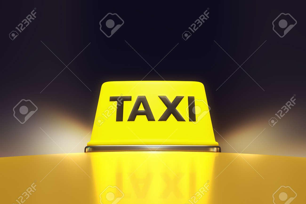 3d Rendering Von Leuchtenden Neonlicht Gelb Taxi Zeichen Auf Dem