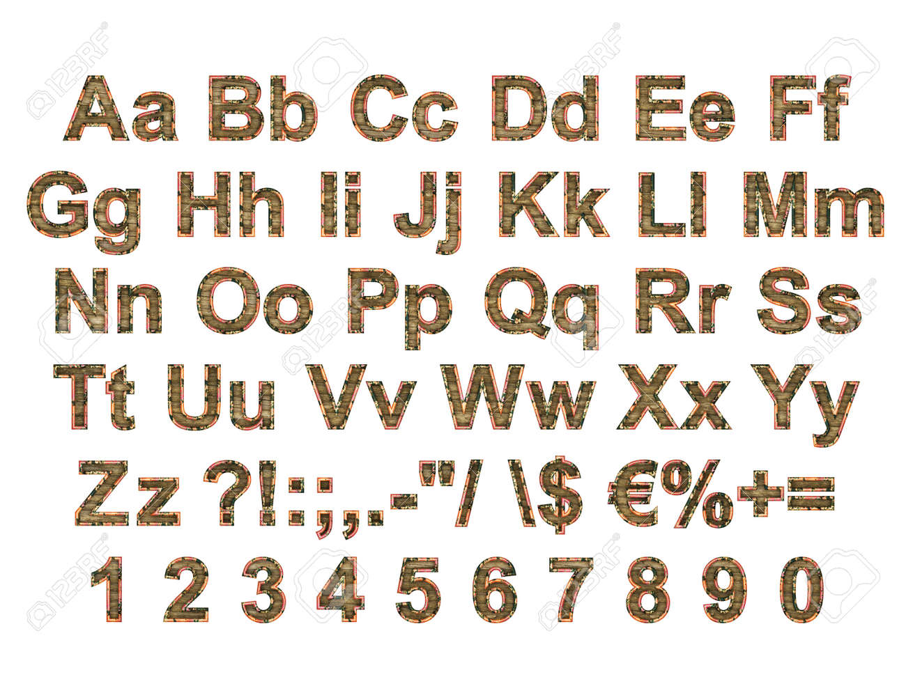 Alphabet stylized to rusty painted metal and old wood Stock Photo - 5850856