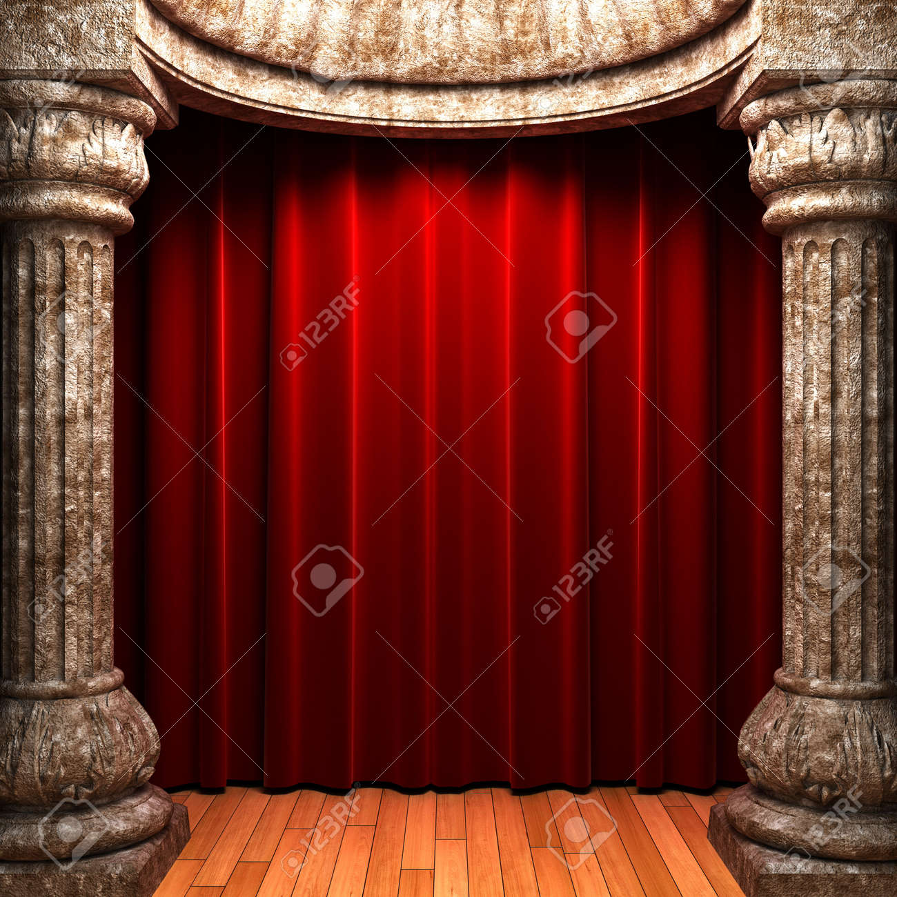 Red velvet curtains stage - Stock Photo Red Velvet Curtains Behind The Stone Columns