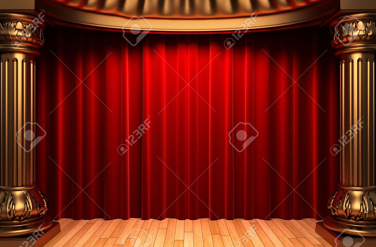 Behind The Curtain Stage - Stock photo red velvet curtains behind the gold columns
