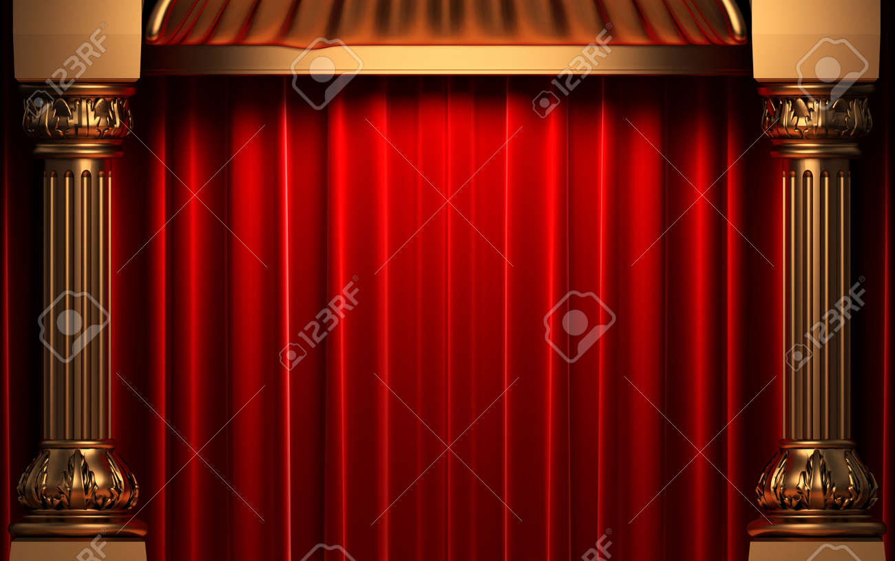 Red Velvet Curtains Behind The Gold Columns Stock Photo Picture