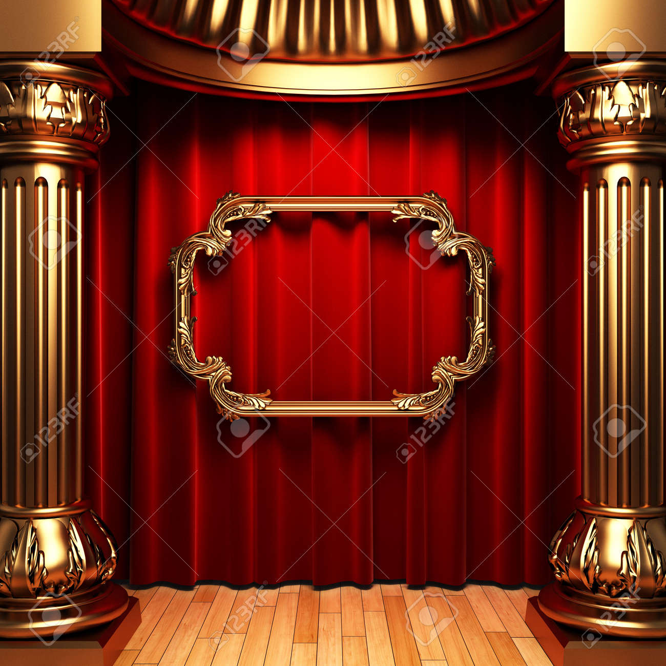 red curtains, gold columns and frame Stock Photo - 6138810