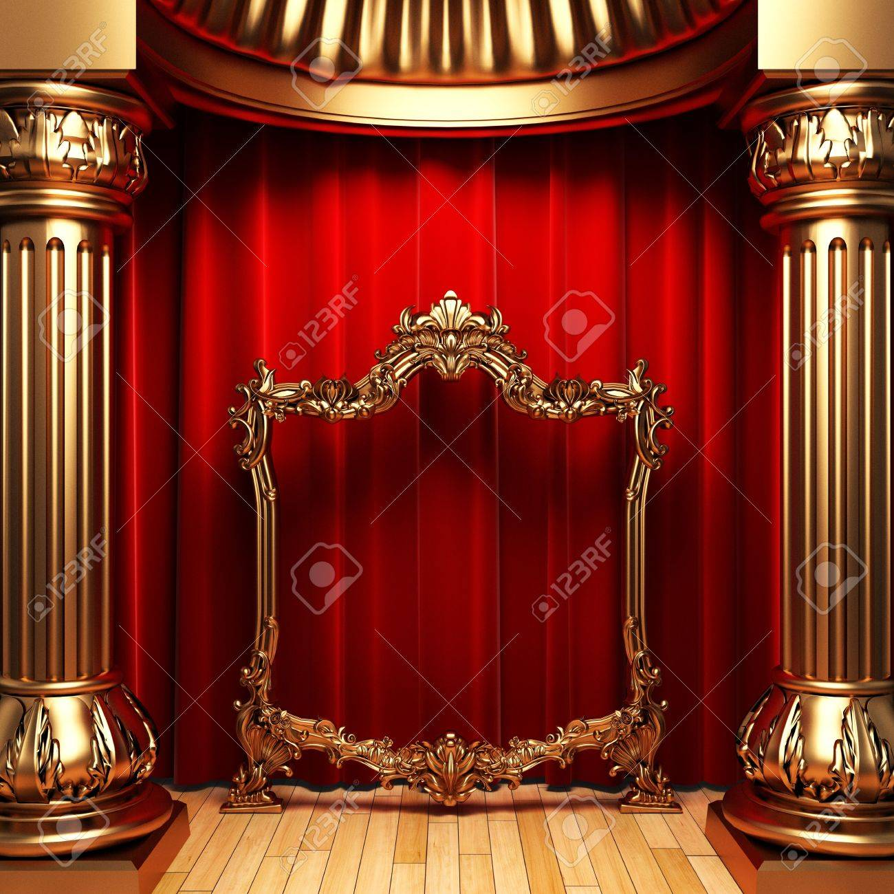Red Curtains Gold Columns And Frame Stock Photo Picture And