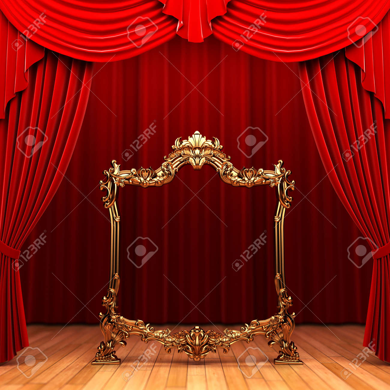 red curtains, gold frame Stock Photo - 6177792