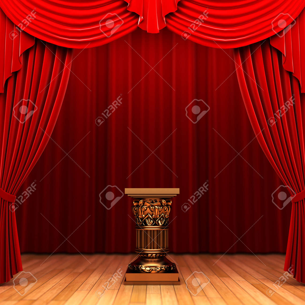 Red velvet curtain and Pedestal Stock Photo - 6177791