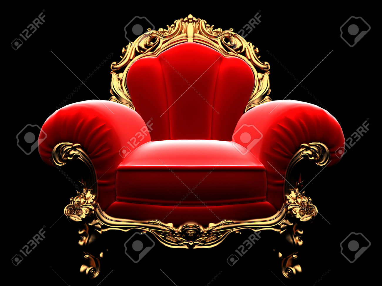 Classic Golden Chair In The Dark Stock Photo   6183632