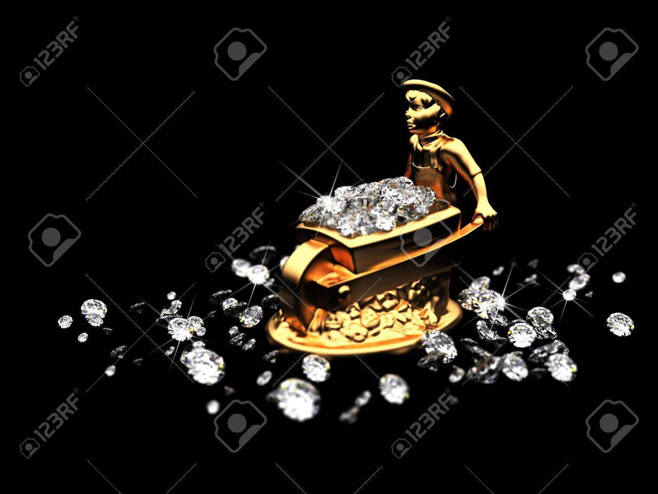a lot of diamonds and golden statuette Stock Photo - 6209037
