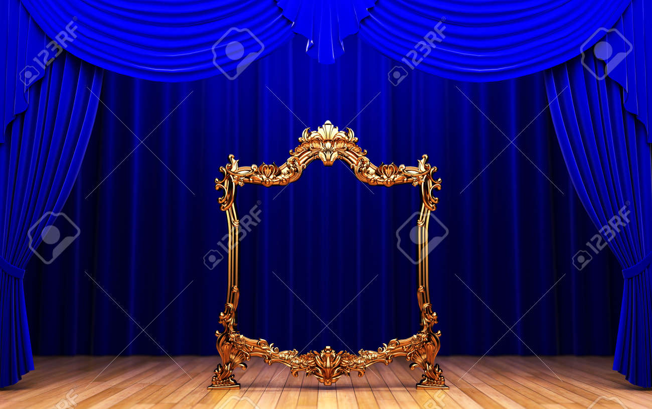 blue curtains, gold frame Stock Photo - 6251197