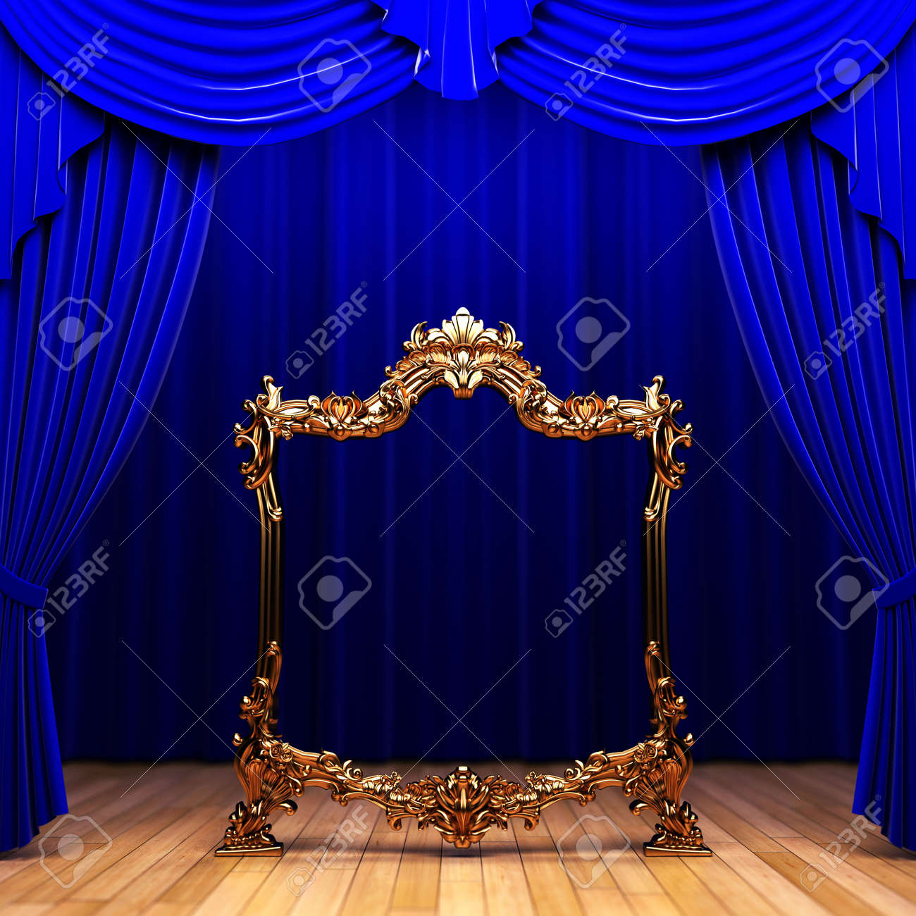 blue curtains, gold frame Stock Photo - 6251198