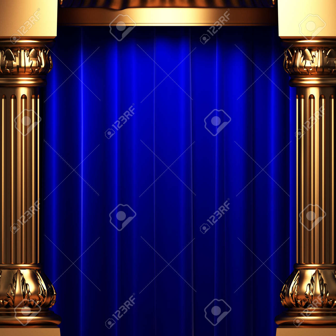 Bl blue stage curtains background - Blue Velvet Curtains Behind The Gold Columns Stock Photo Picture Stock Photo Blue Velvet Curtains Behind