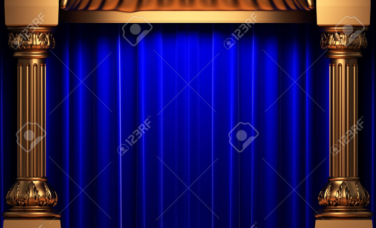 Blue Velvet Curtains Behind The Gold Columns Stock Photo