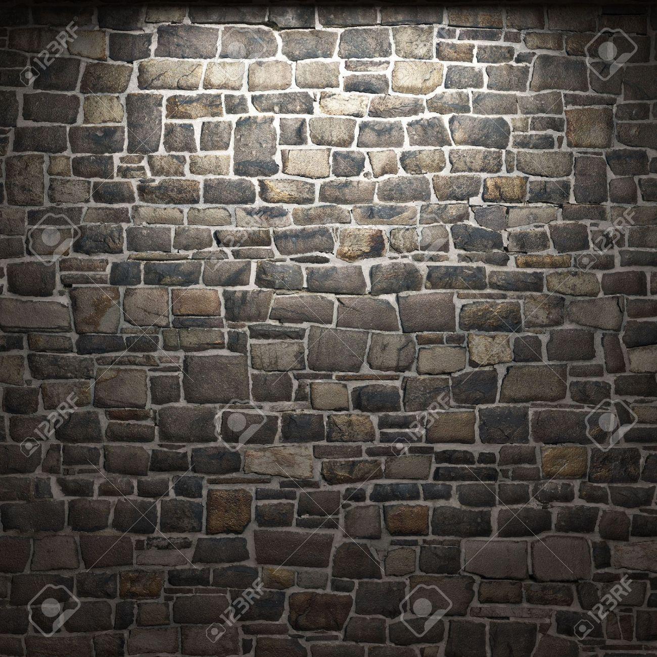 illuminated stone wall stock photo 6318322