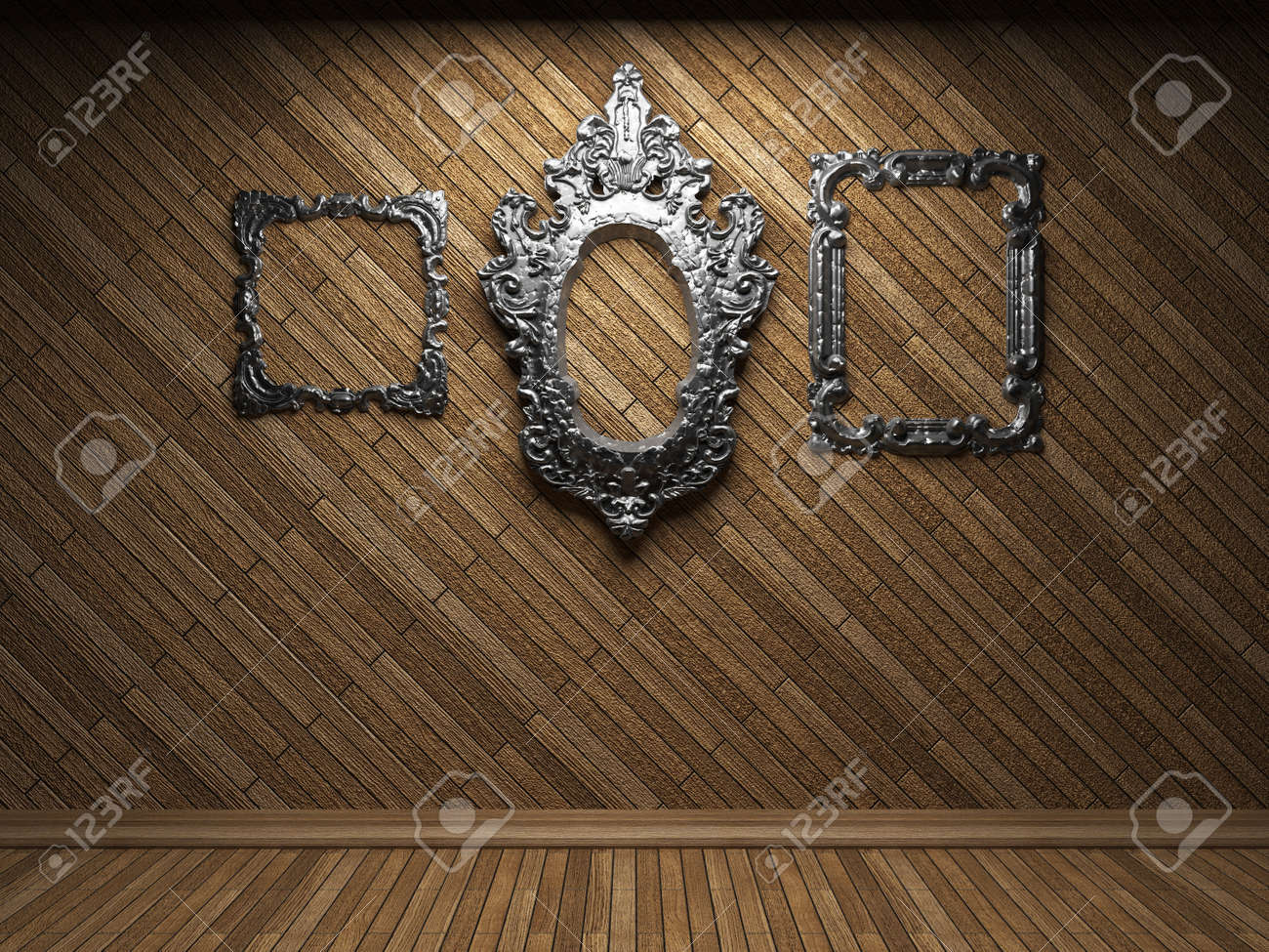 illuminated wooden wall and frame Stock Photo - 7035737