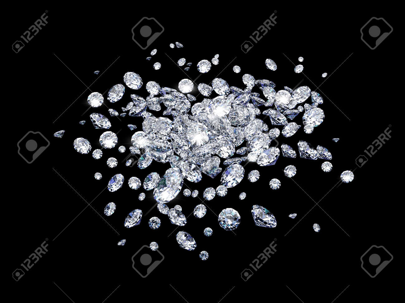 Diamonds on black surface Stock Photo - 7068408