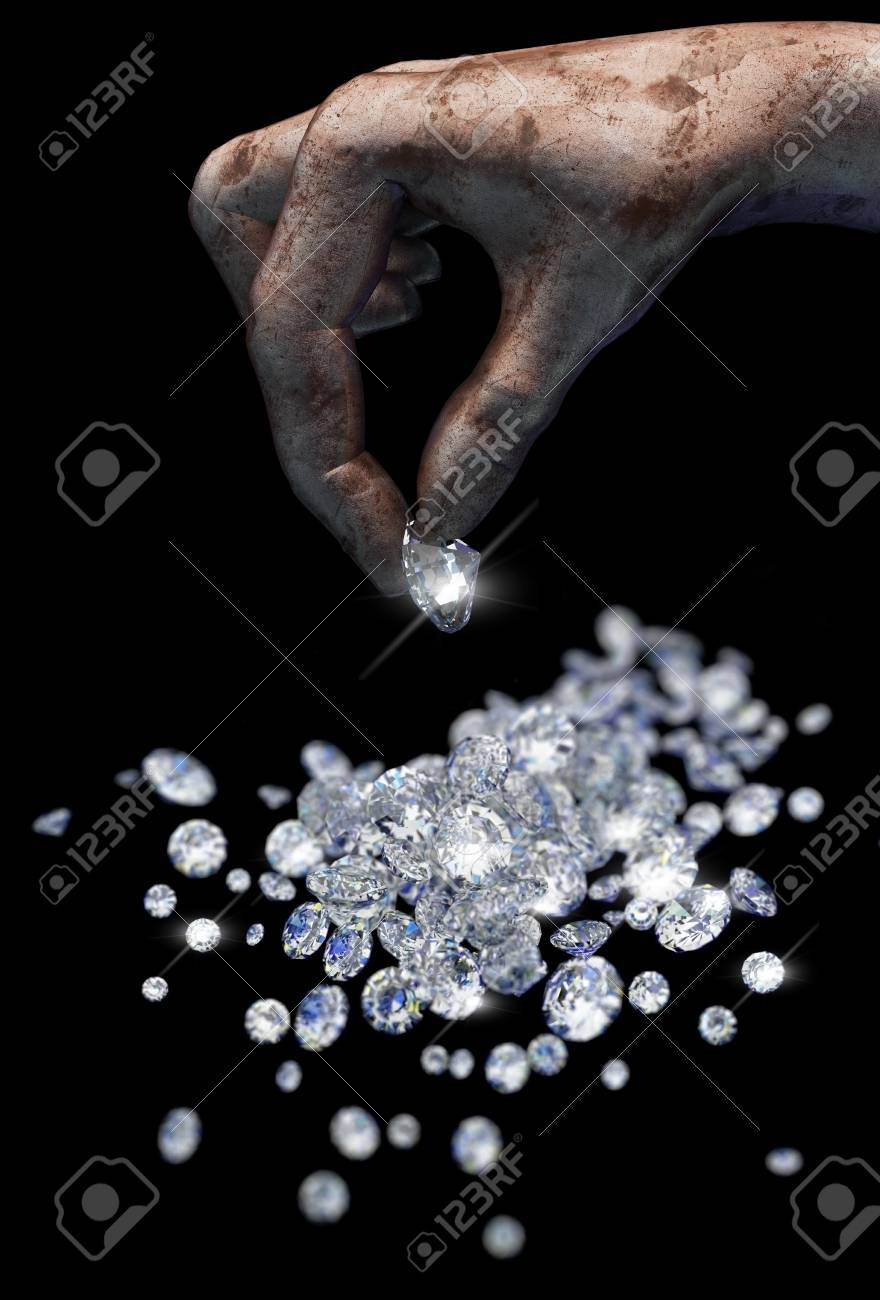 Diamonds on black surface and hand Stock Photo - 7068421