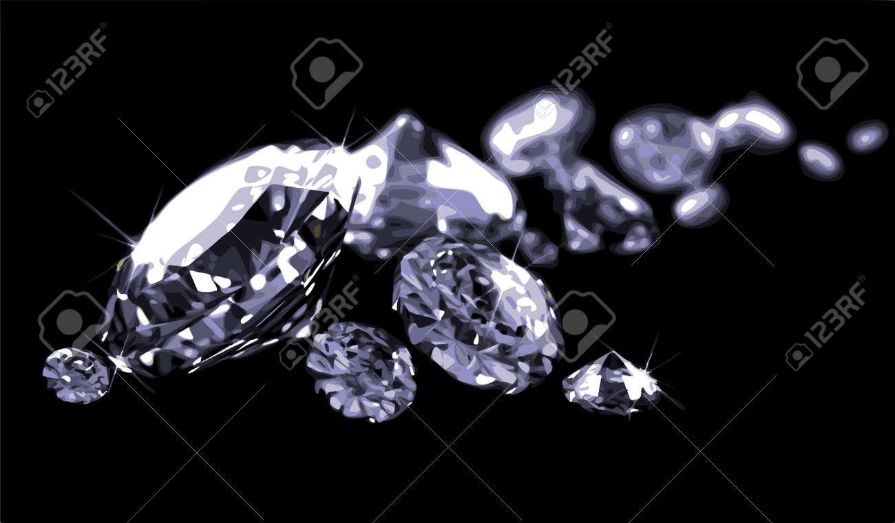 Diamonds on black surface Stock Vector - 8057791