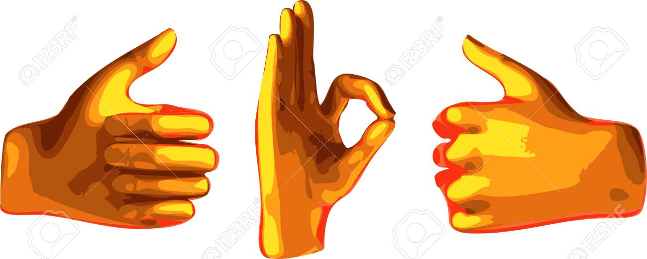 ok abstract orange hand isolated on white background Stock Vector - 8057785