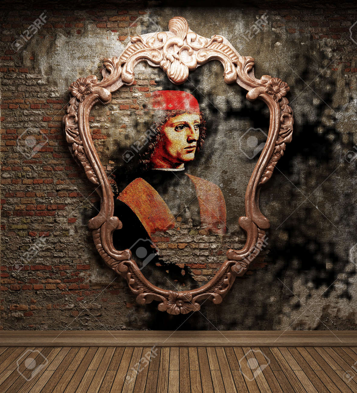 antique portrait fresco made in 3D Stock Photo - 7758139