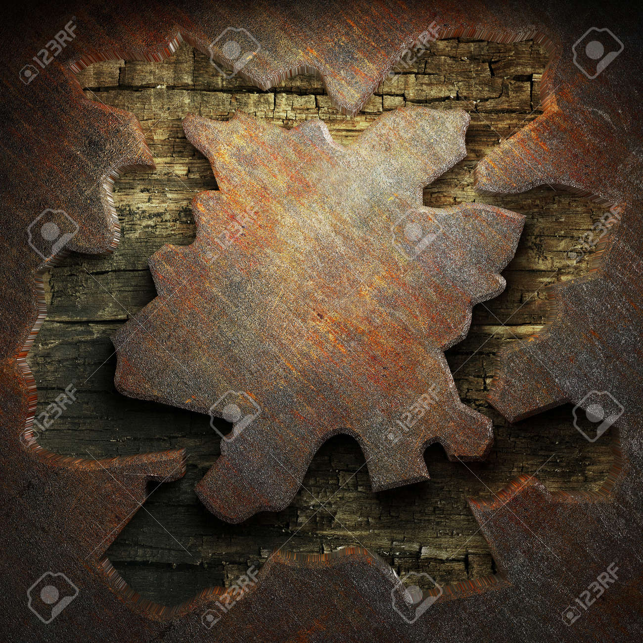 rusty metal and wood plate made in 3D Stock Photo - 7758218