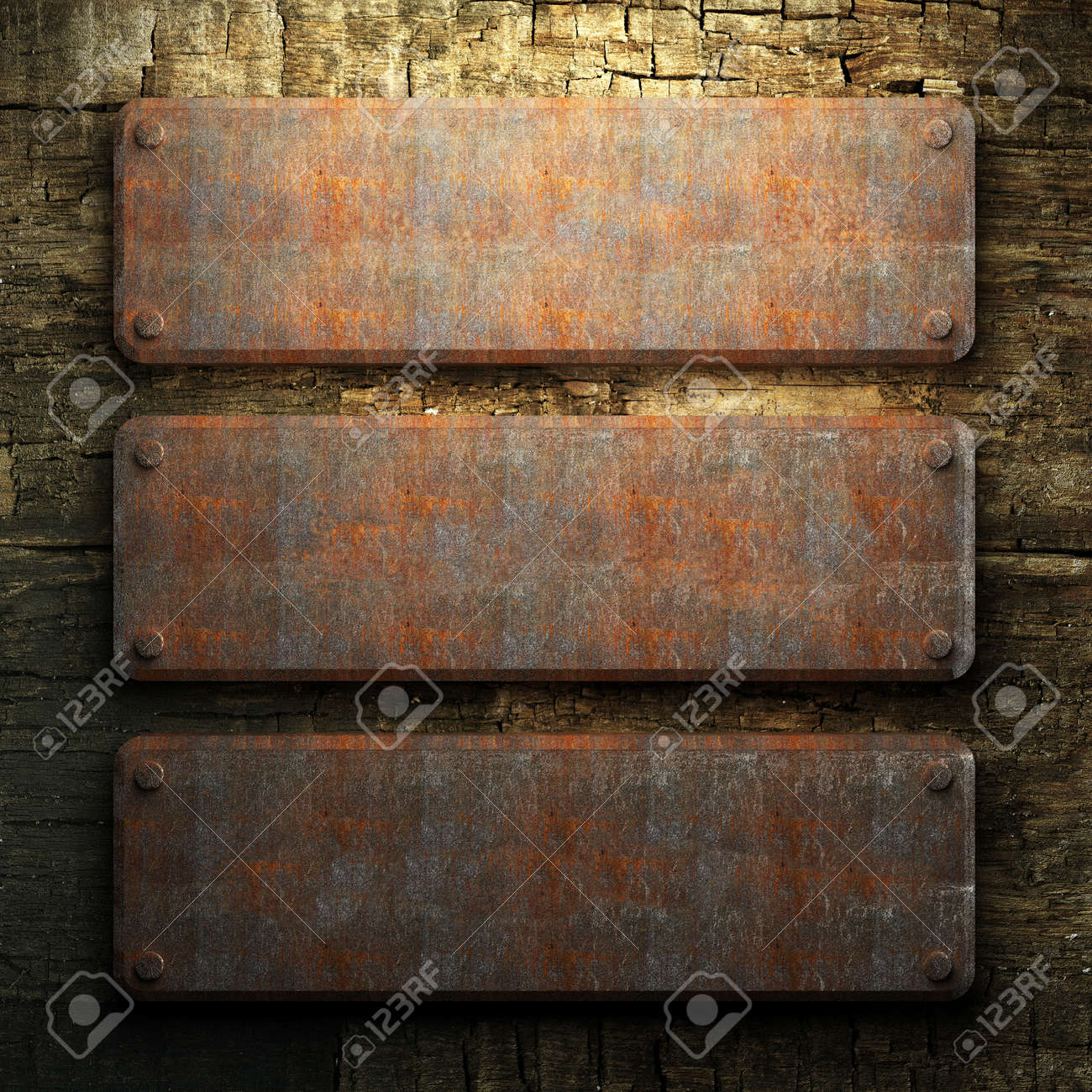 rusty metal and wood plate made in 3D Stock Photo - 7758215