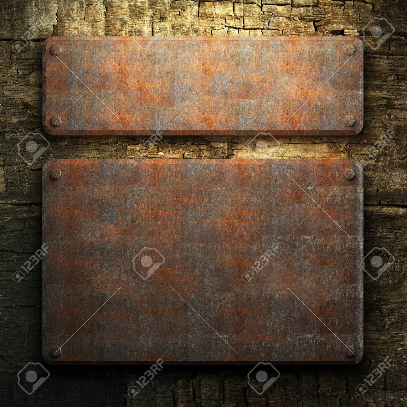 rusty metal and wood plate made in 3D Stock Photo - 7758213