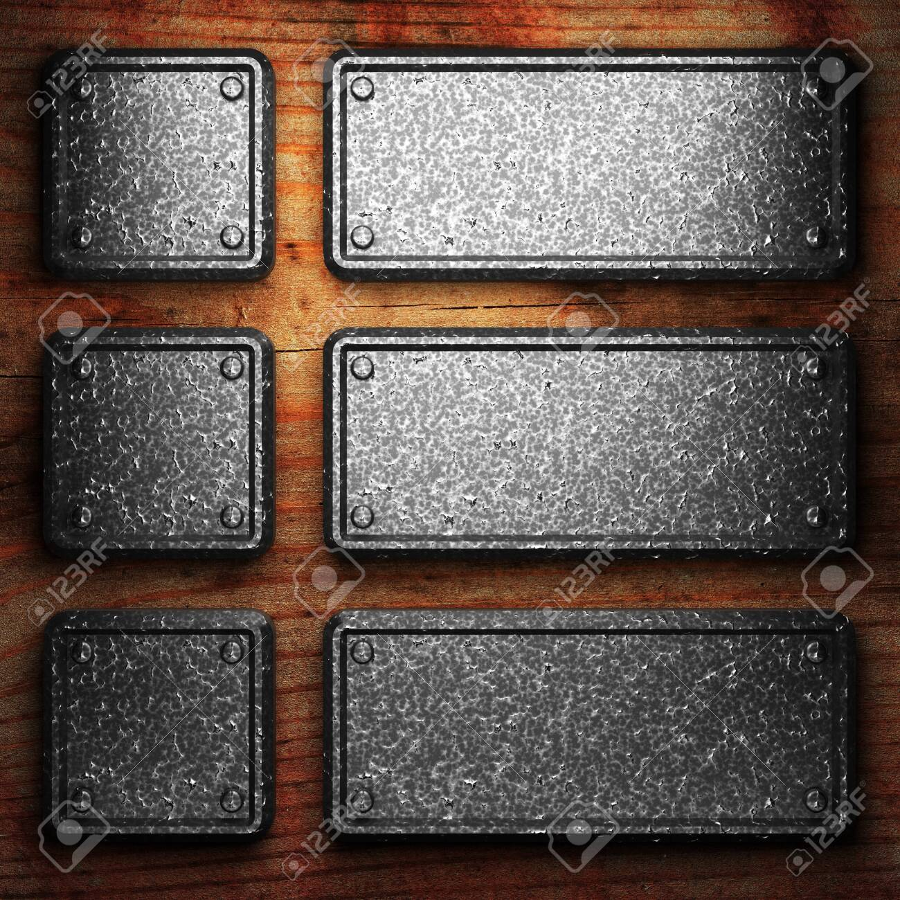 iron plate on wood made in 3D Stock Photo - 7758193