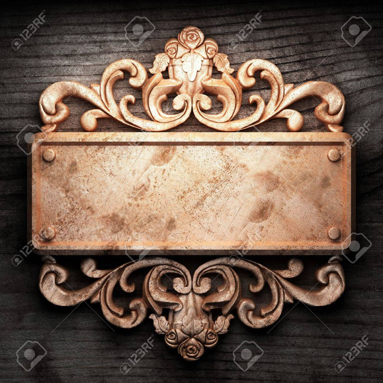 golden ornament on wood made in 3D Stock Photo - 7774670