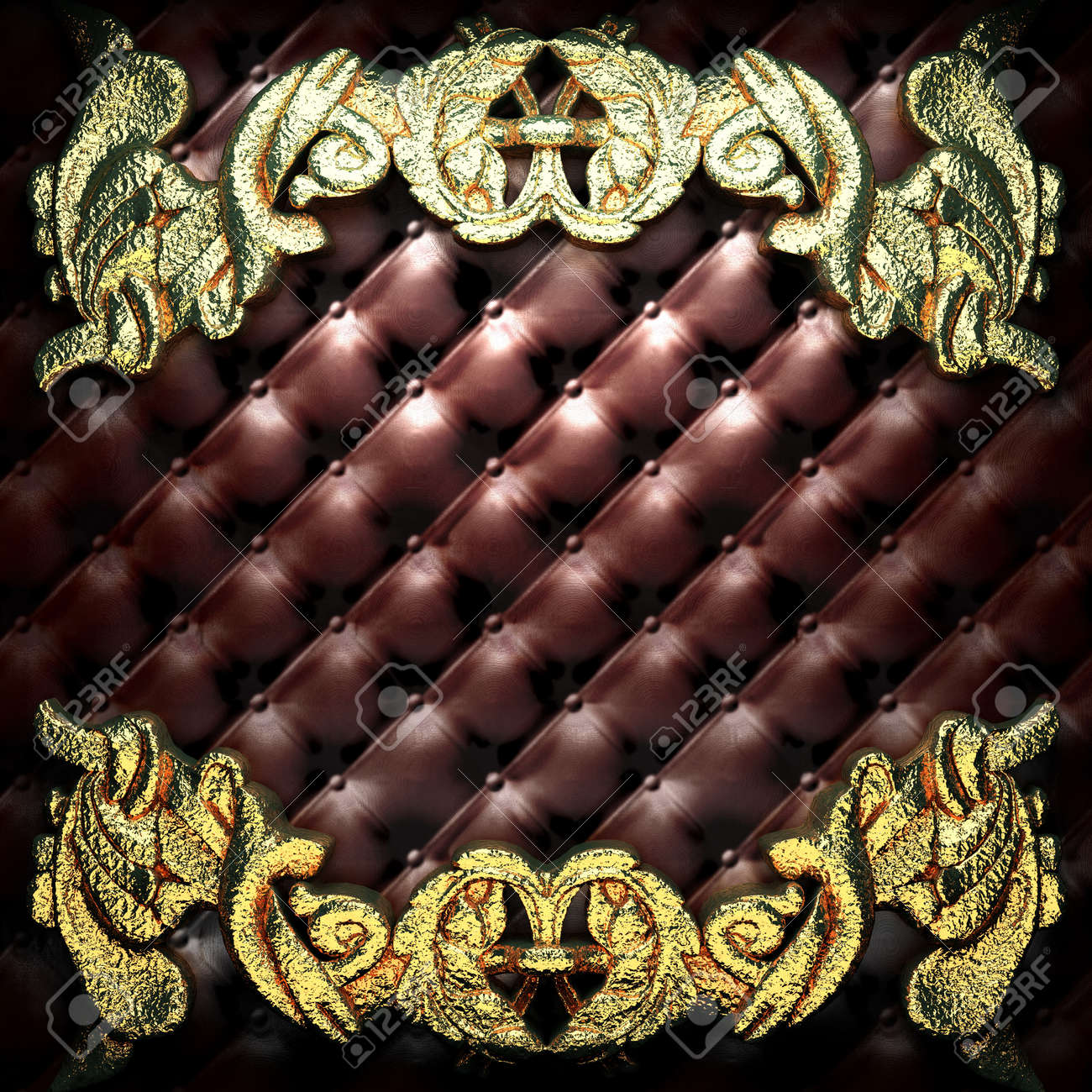 golden ornament on leather made in 3D Stock Photo - 7905291