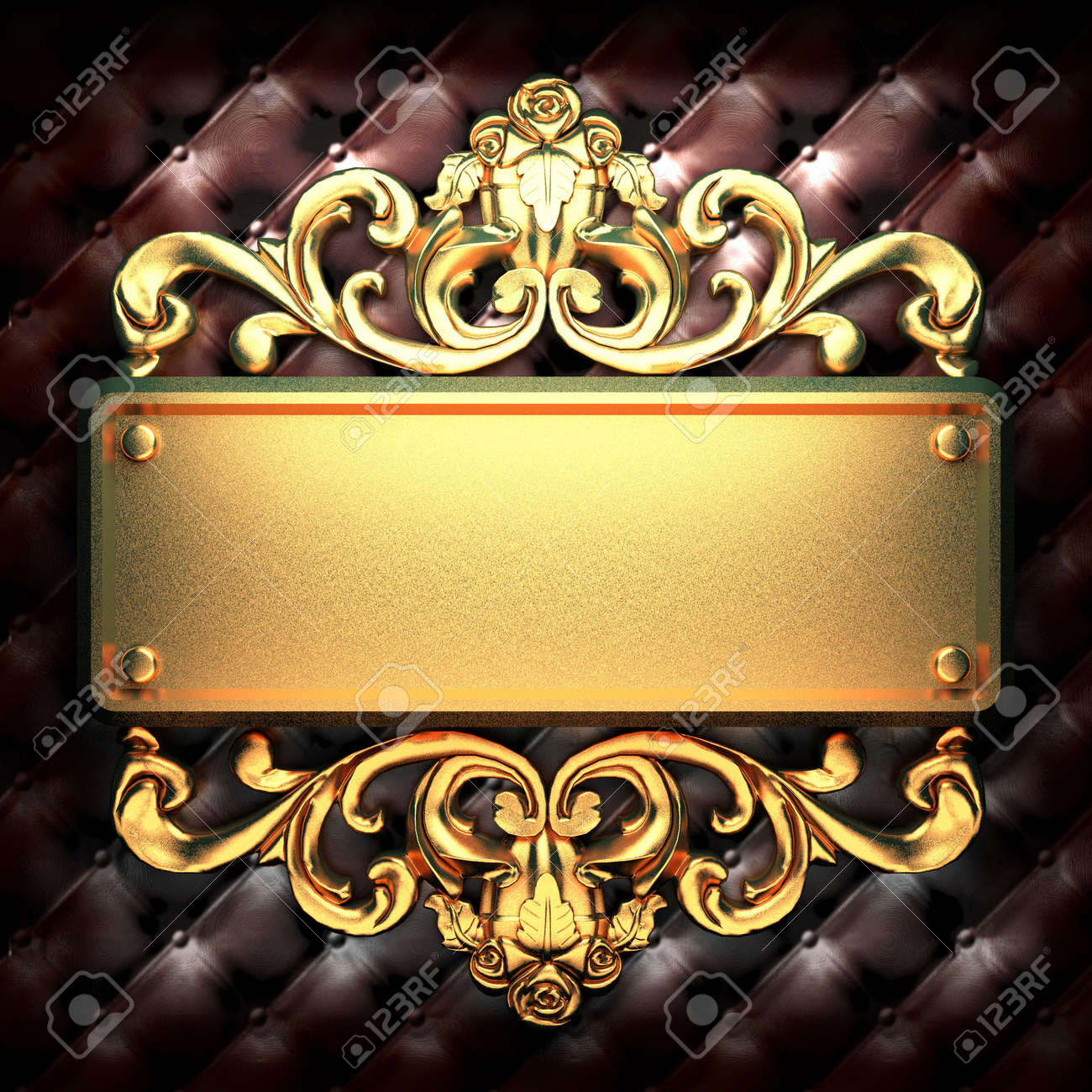 golden ornament on leather made in 3D Stock Photo - 7905273