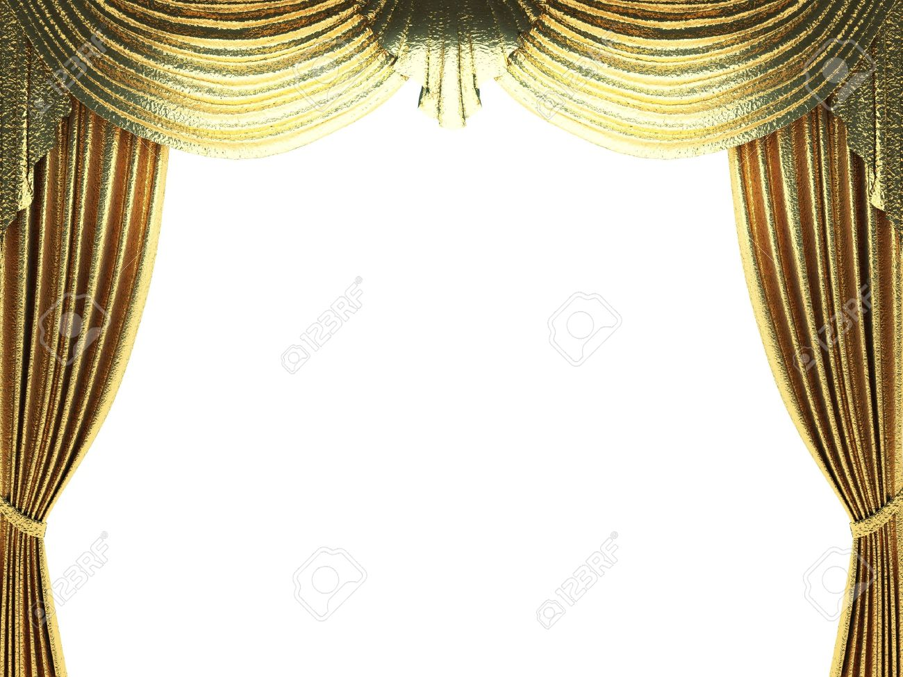 Gold stage curtain - Stock Photo Golden Curtain Opening Scene Made In 3d