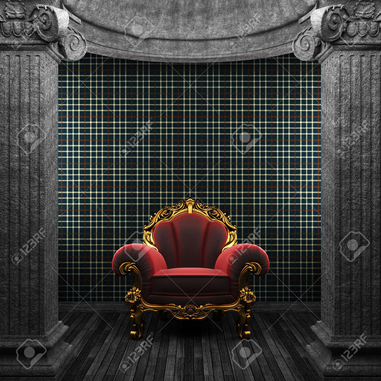 stone columns, chair and wallpaper made in 3D Stock Photo - 8455842