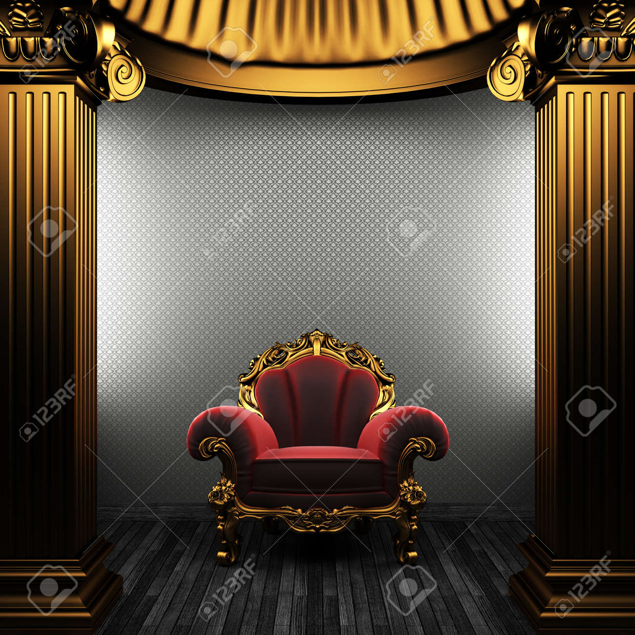 bronze columns, chair and wallpaper Stock Photo - 8455805