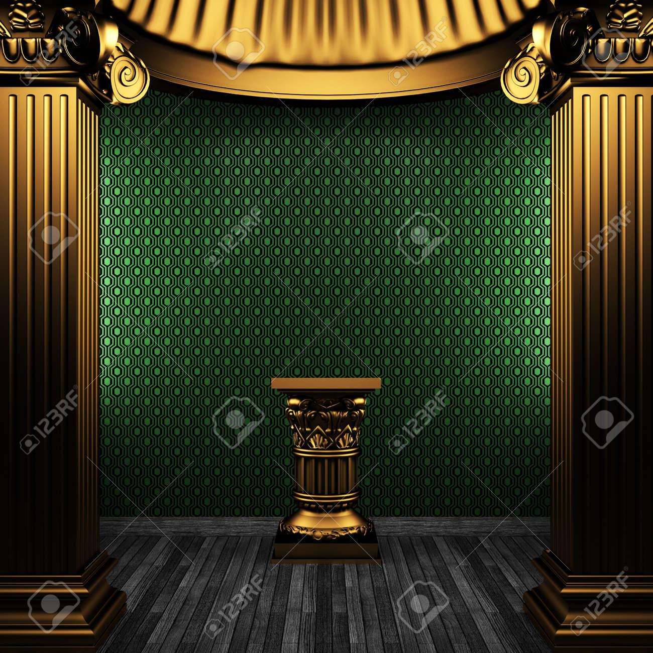 bronze columns, pedestal and wallpaper made in 3D Stock Photo - 8471229