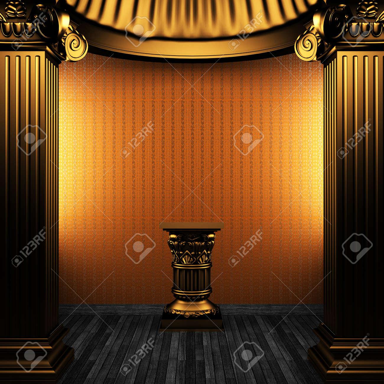 bronze columns, pedestal and wallpaper made in 3D Stock Photo - 8471270