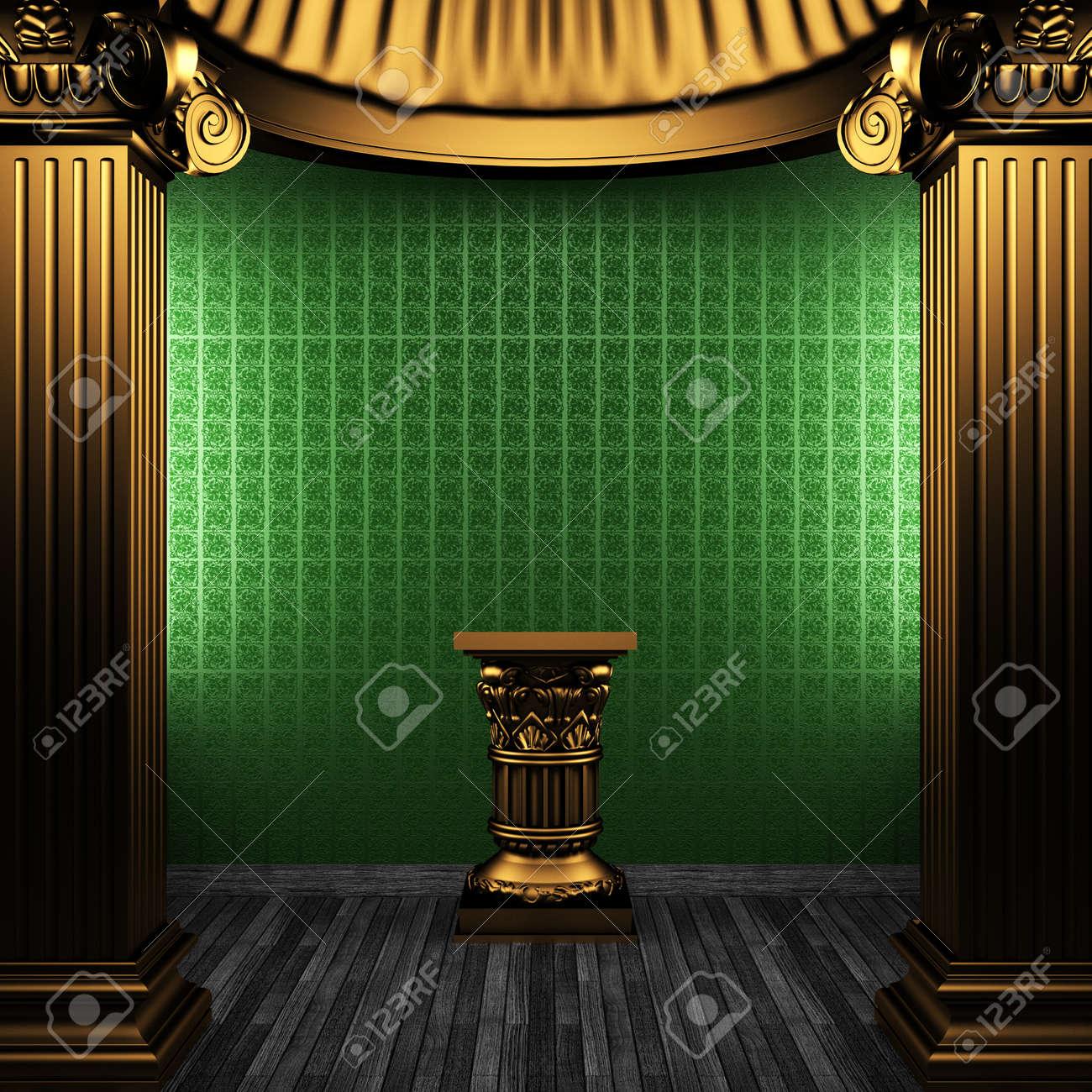 bronze columns, pedestal and wallpaper made in 3D Stock Photo - 8471238