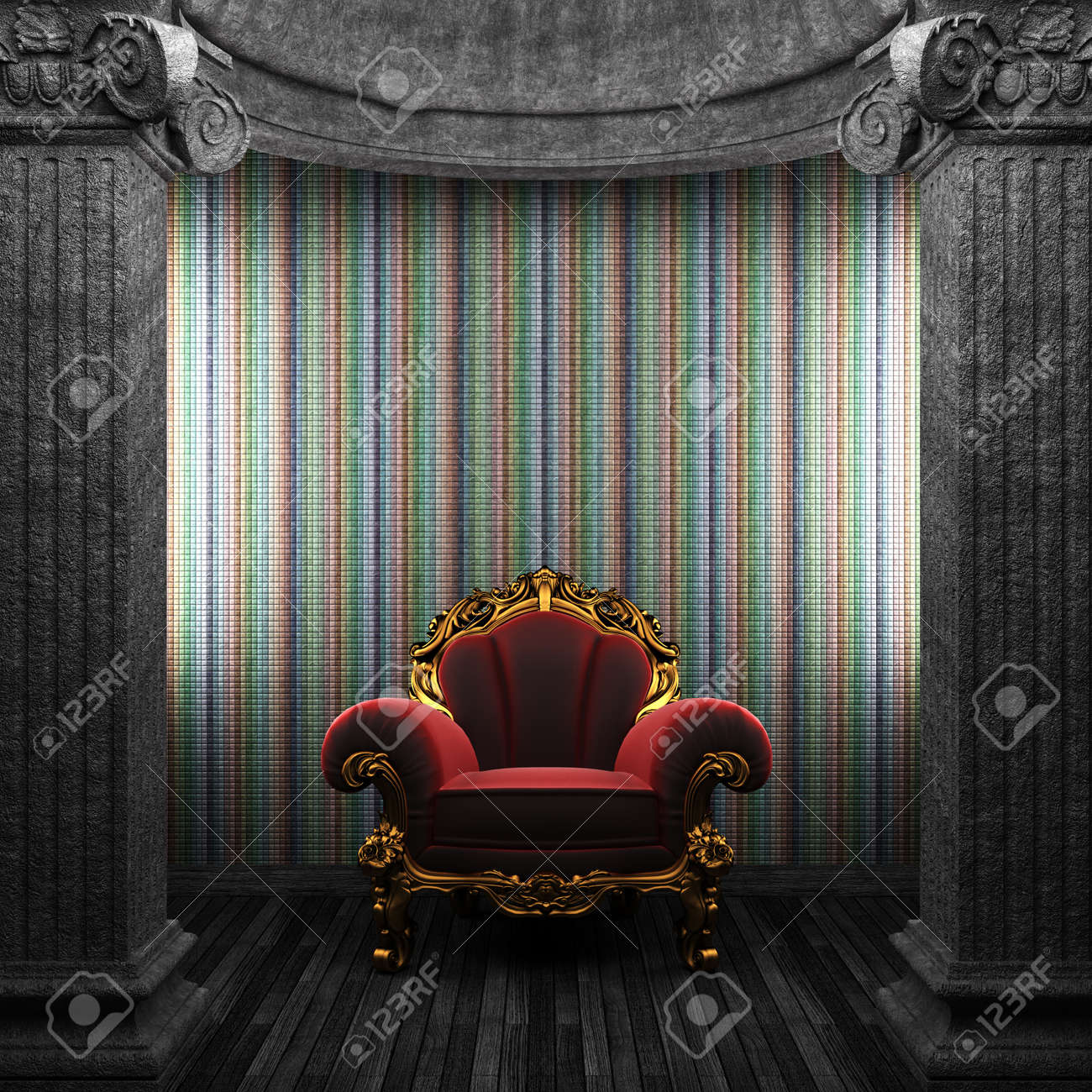 stone columns, chair and wallpaper made in 3D Stock Photo - 8482555
