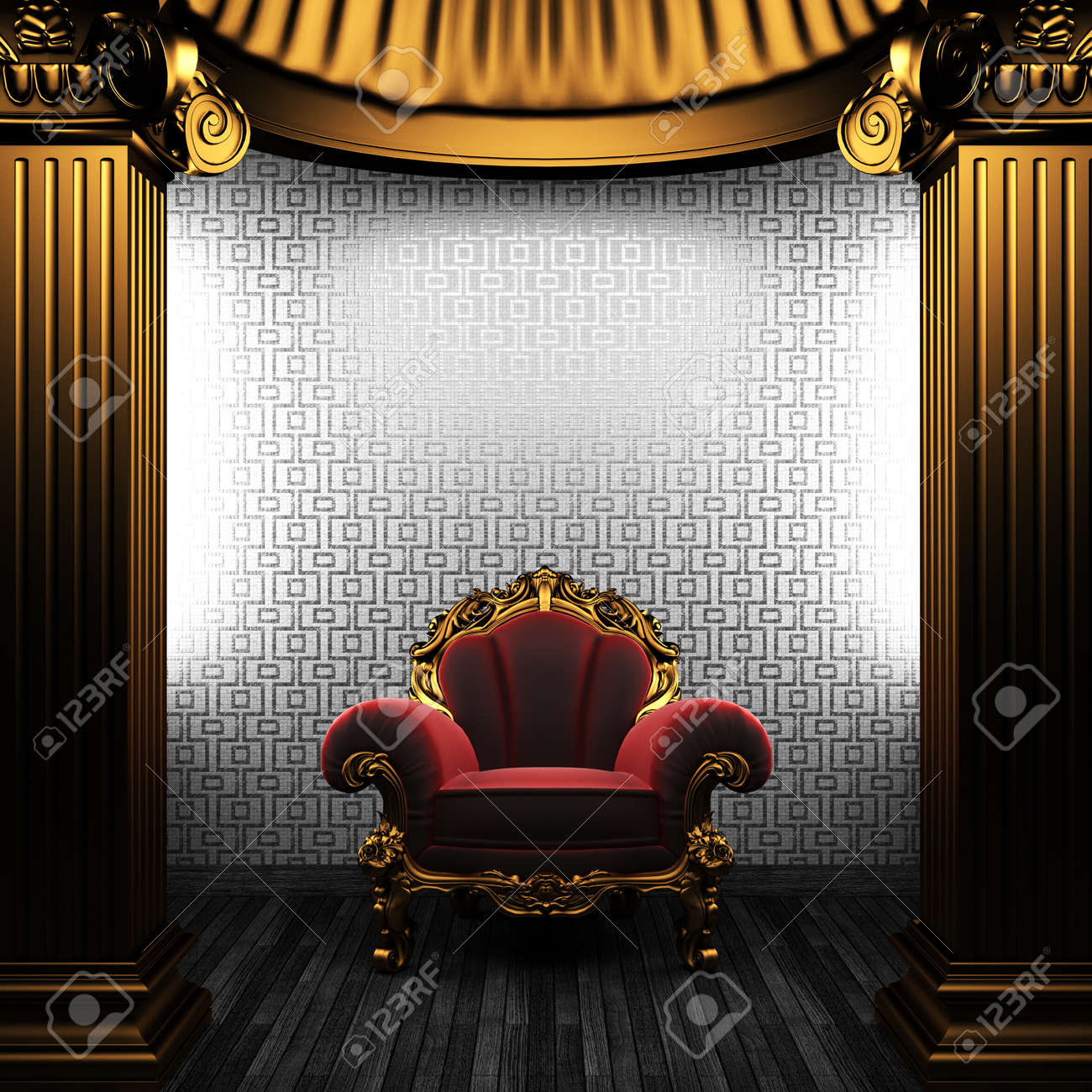 bronze columns, chair and tile wall made in 3D Stock Photo - 8503460