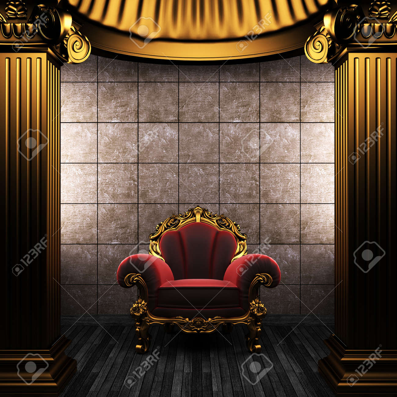 bronze columns, chair and tile wall made in 3D Stock Photo - 8503463
